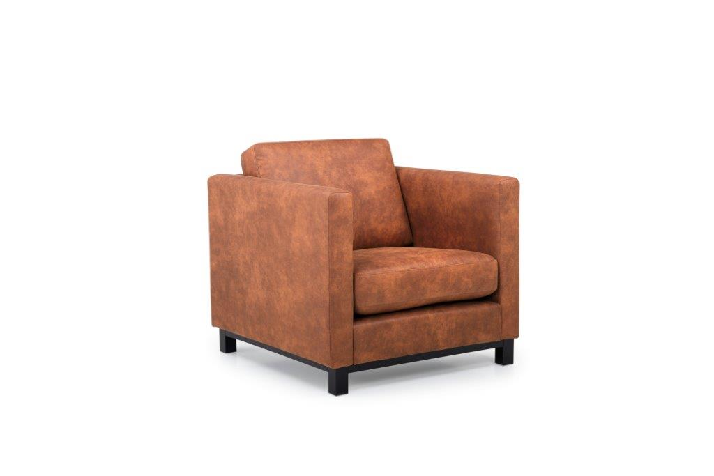 CUPID 1 seater (PRESTON 24 cognac) side softnord soft nord scandinavian style furniture modern interior design sofa bed chair pouf upholstery