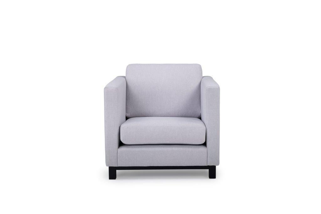 CUPID 1 seater (RONDA 3.1 light grey) front softnord soft nord scandinavian style furniture modern interior design sofa bed chair pouf upholstery