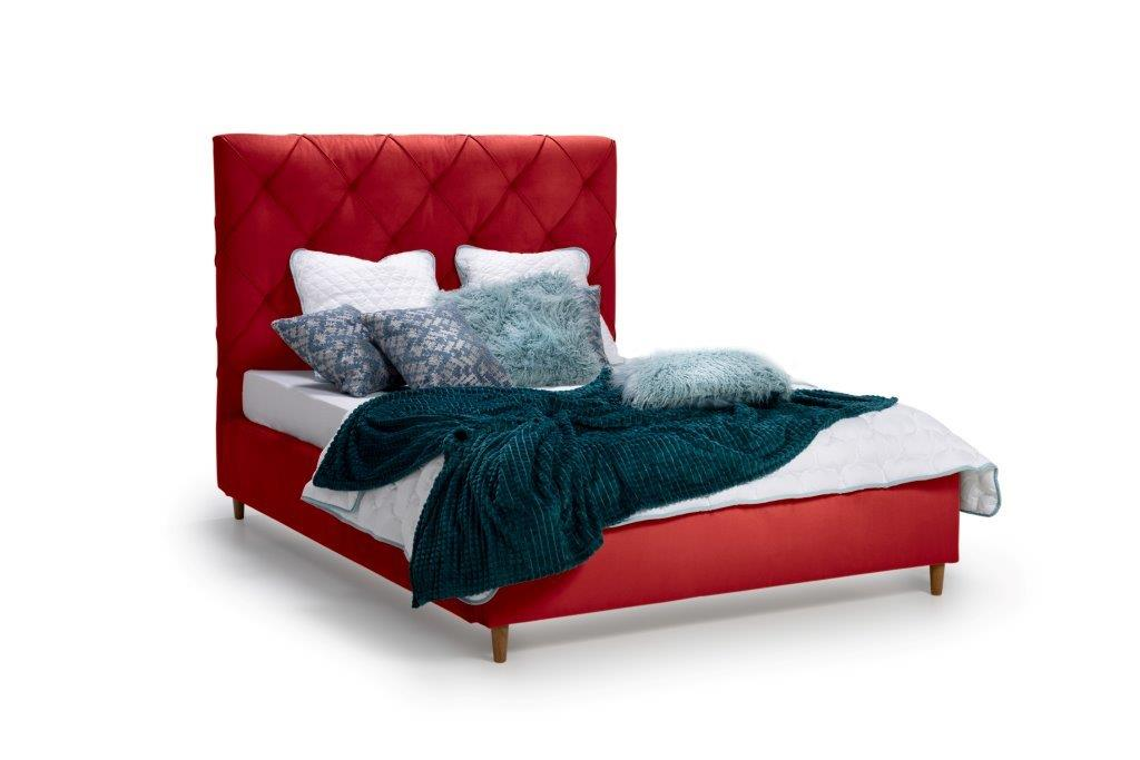 DOUBLE BED 1400 (TRENTO 1 red) side softnord soft nord scandinavian style furniture modern interior design sofa bed chair pouf upholstery