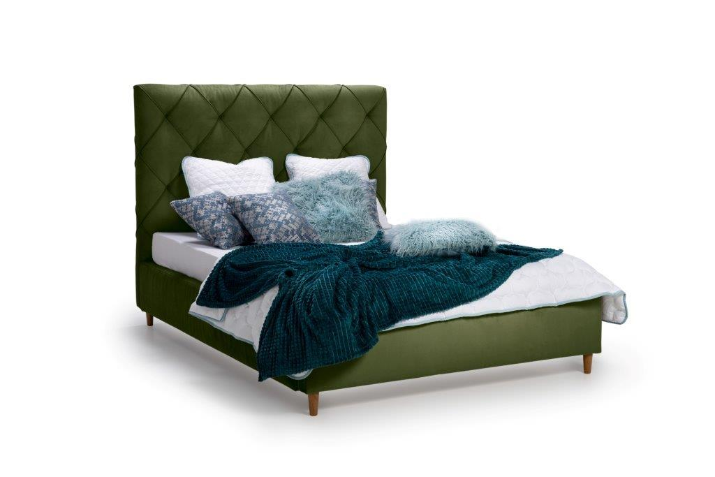 DOUBLE BED 1400 (TRENTO 13 khaki) side softnord soft nord scandinavian style furniture modern interior design sofa bed chair pouf upholstery
