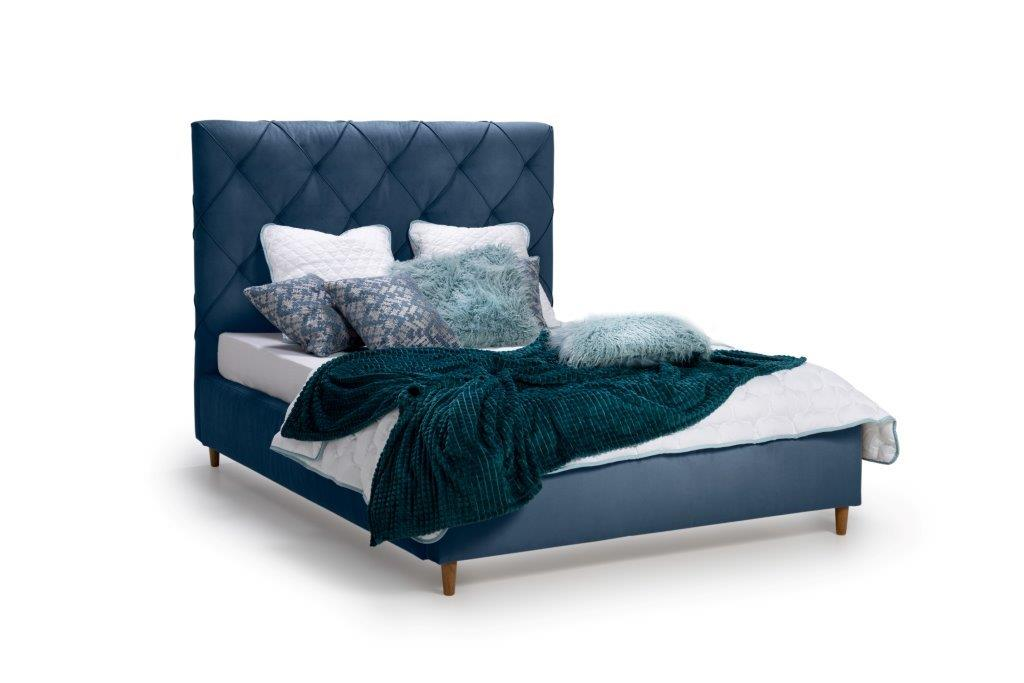 DOUBLE BED 1400 (TRENTO 16 blue) side softnord soft nord scandinavian style furniture modern interior design sofa bed chair pouf upholstery
