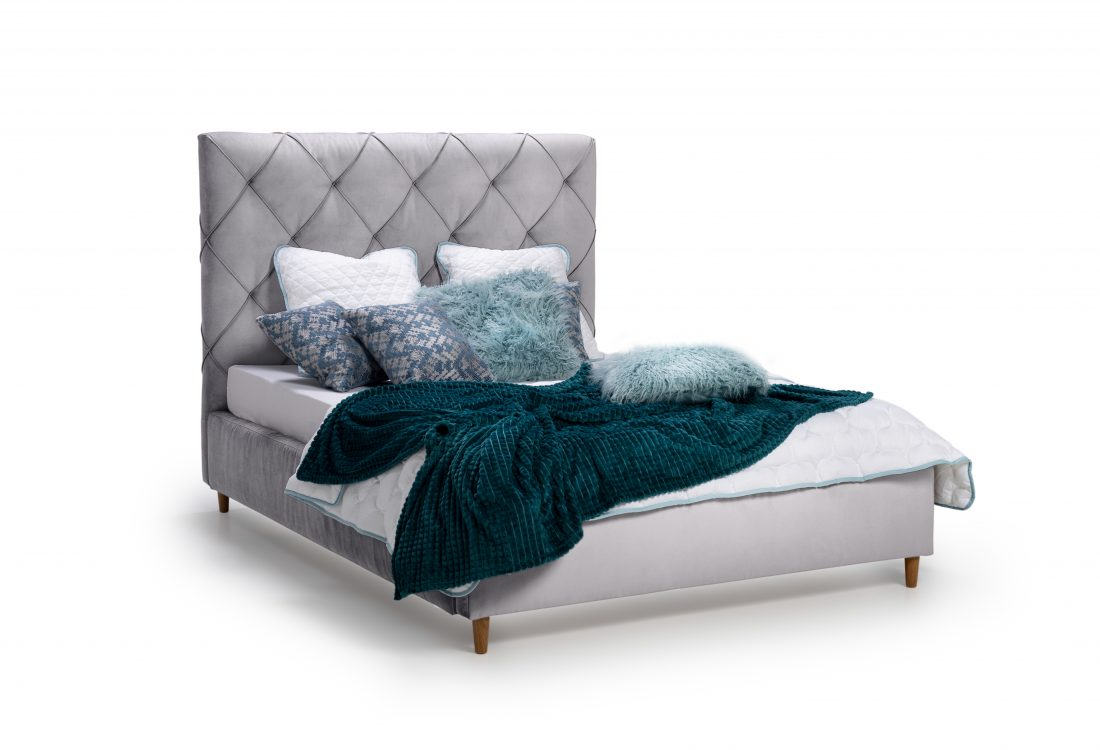 DOUBLE BED 1400 (TRENTO 3.1 light grey) side