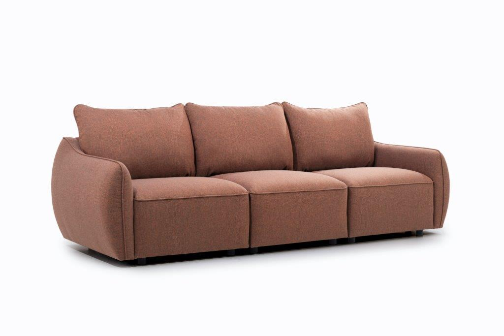 HUGO 3-seater (ROSITA 20-2 dark orange) side softnord soft nord scandinavian style furniture modern interior design sofa bed chair pouf upholstery