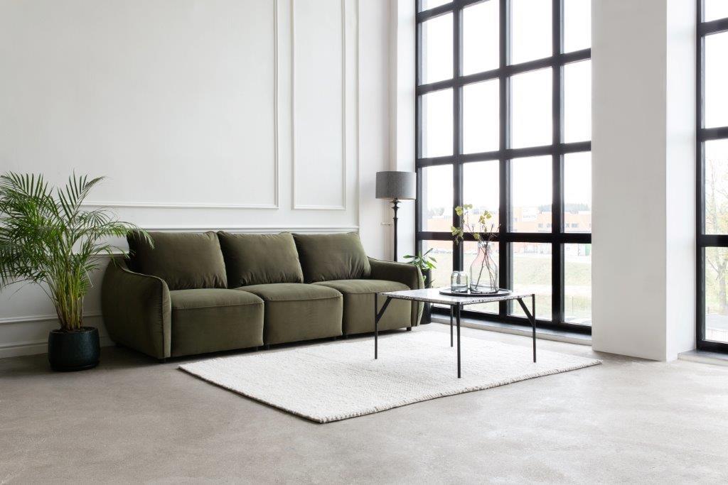 SCHERMAN 3 seater (TRENTO 13 khaki) interior-softnord soft nord scandinavian style furniture modern interior design sofa bed chair pouf upholstery