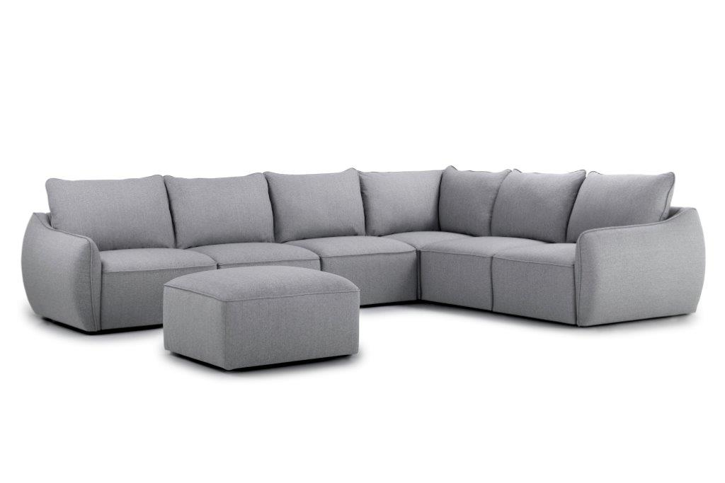 SCHERMAN 3+90+2 with pouf (FAME 3.1 light grey) side softnord soft nord scandinavian style furniture modern interior design sofa bed chair pouf upholstery