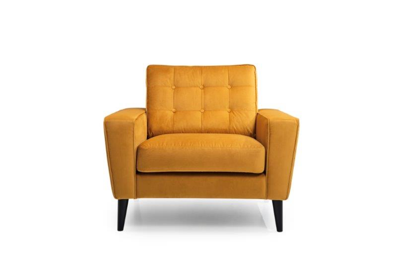 TIVOLI 1-seater (NAPOLY 21 mustard) front softnord soft nord scandinavian style furniture modern interior design sofa bed chair pouf upholstery