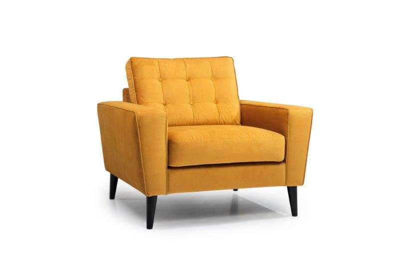 TIVOLI 1-seater (NAPOLY 21 mustard) side softnord soft nord scandinavian style furniture modern interior design sofa bed chair pouf upholstery