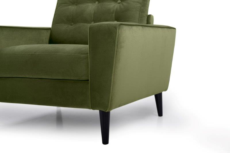 TIVOLI 1 seater with buttons (TRENTO 13 khaki) arm+leg softnord soft nord scandinavian style furniture modern interior design sofa bed chair pouf upholstery