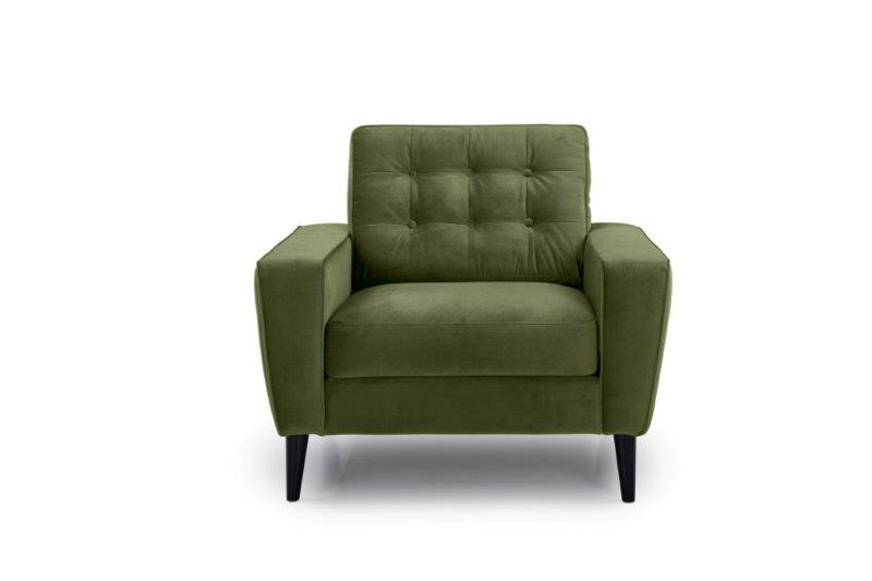 TIVOLI 1 seater with buttons (TRENTO 13 khaki) front softnord soft nord scandinavian style furniture modern interior design sofa bed chair pouf upholstery
