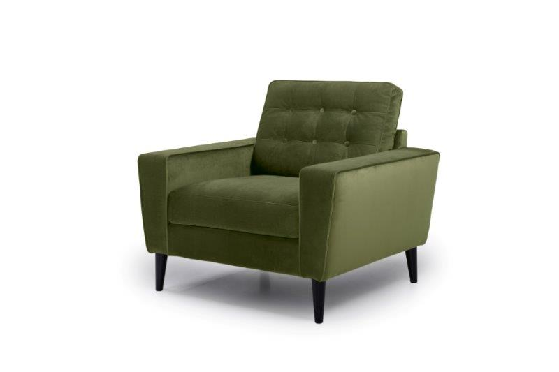 TIVOLI 1 seater with buttons (TRENTO 13 khaki) side softnord soft nord scandinavian style furniture modern interior design sofa bed chair pouf upholstery