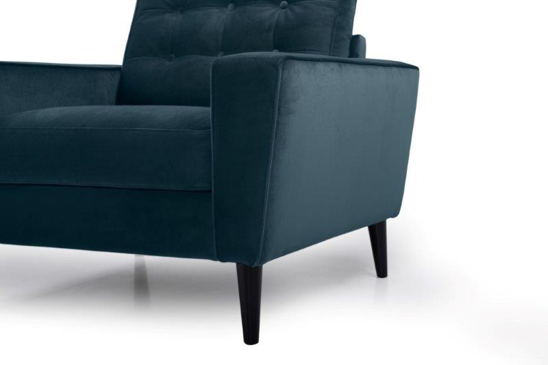 TIVOLI 1 seater with buttons (TRENTO 16 blue) arm+leg softnord soft nord scandinavian style furniture modern interior design sofa bed chair pouf upholstery