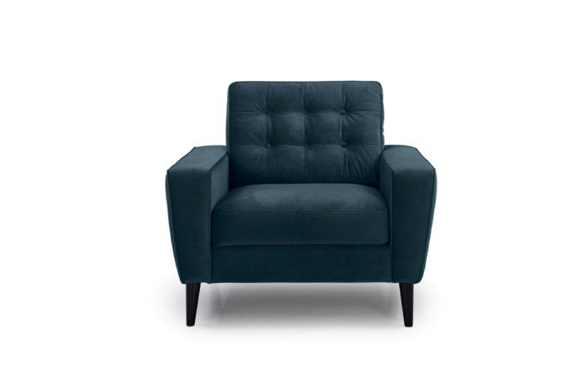 TIVOLI 1 seater with buttons (TRENTO 16 blue) front softnord soft nord scandinavian style furniture modern interior design sofa bed chair pouf upholstery