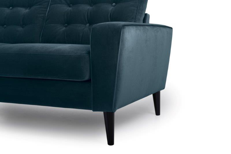 TIVOLI 2 seater with buttons (TRENTO 16 blue) arm+leg softnord soft nord scandinavian style furniture modern interior design sofa bed chair pouf upholstery
