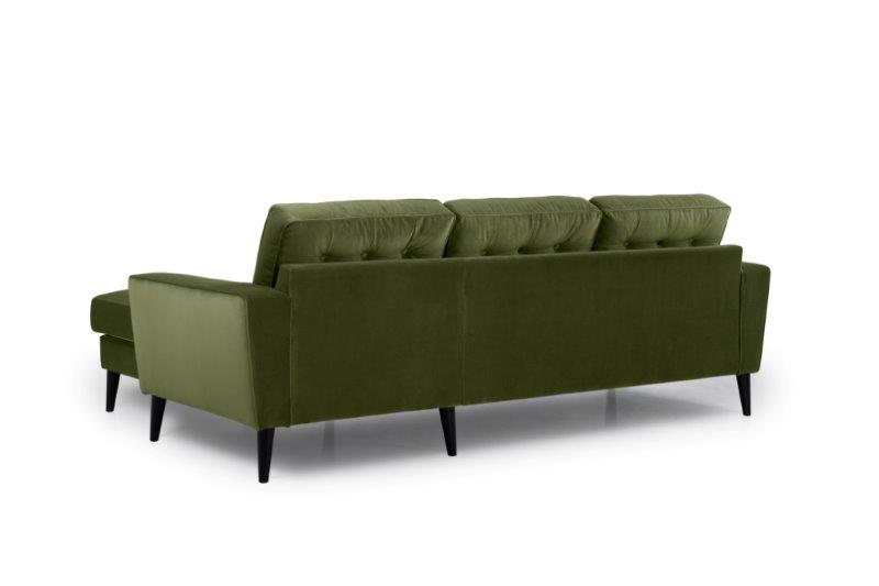 TIVOLI chaiselongue with 2 seater with buttons (TRENTO 13 khaki) back softnord soft nord scandinavian style furniture modern interior design sofa bed chair pouf upholstery