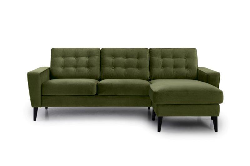 TIVOLI chaiselongue with 2 seater with buttons (TRENTO 13 khaki) front softnord soft nord scandinavian style furniture modern interior design sofa bed chair pouf upholstery
