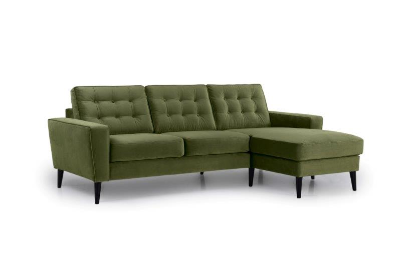 TIVOLI chaiselongue with 2 seater with buttons (TRENTO 13 khaki) side softnord soft nord scandinavian style furniture modern interior design sofa bed chair pouf upholstery