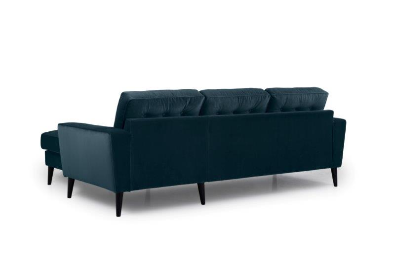 TIVOLI chaiselongue with 2 seater with buttons (TRENTO 16 blue) back softnord soft nord scandinavian style furniture modern interior design sofa bed chair pouf upholstery