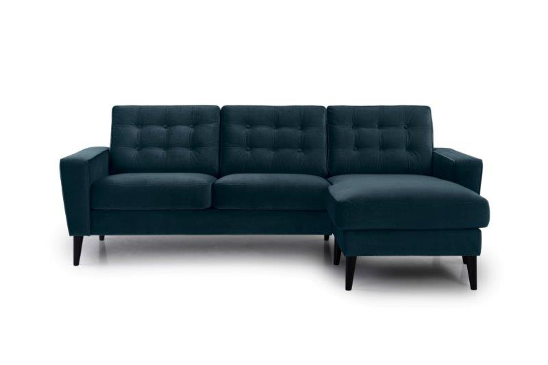 TIVOLI chaiselongue with 2 seater with buttons (TRENTO 16 blue) front softnord soft nord scandinavian style furniture modern interior design sofa bed chair pouf upholstery