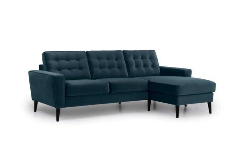 TIVOLI chaiselongue with 2 seater with buttons (TRENTO 16 blue) side softnord soft nord scandinavian style furniture modern interior design sofa bed chair pouf upholstery