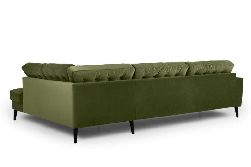 TIVOLI open corner with 3 seater with buttons (TRENTO 13 khaki) back softnord soft nord scandinavian style furniture modern interior design sofa bed chair pouf upholstery