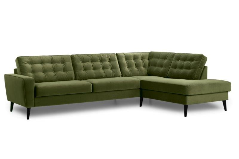 TIVOLI open corner with 3 seater with buttons (TRENTO 13 khaki) side softnord soft nord scandinavian style furniture modern interior design sofa bed chair pouf upholstery
