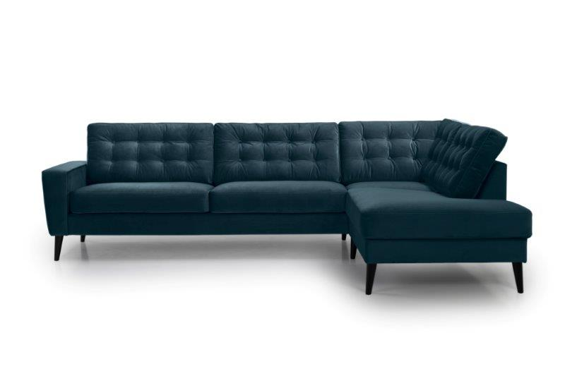 TIVOLI open corner with 3 seater with buttons (TRENTO 16 blue) front softnord soft nord scandinavian style furniture modern interior design sofa bed chair pouf upholstery