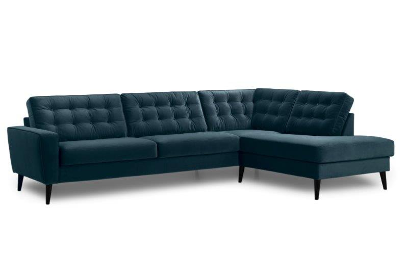 TIVOLI open corner with 3 seater with buttons (TRENTO 16 blue) side softnord soft nord scandinavian style furniture modern interior design sofa bed chair pouf upholstery