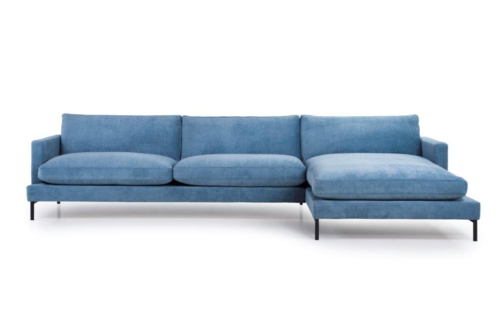 LEKEN chaiselongue with 3 seater (CONCEPT 16 blue) front softnord soft nord scandinavian style furniture modern interior design sofa bed chair pouf upholstery