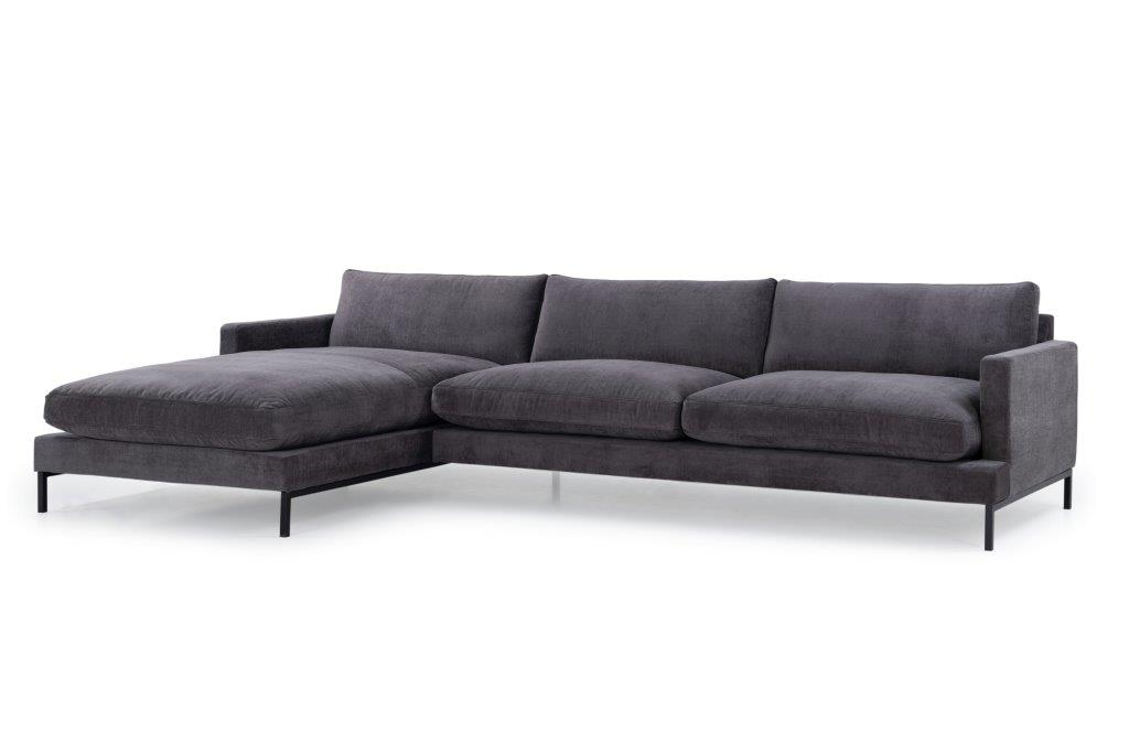 LEKEN chaiselongue with 3 seater (CONCEPT 3.2 dark grey) side softnord soft nord scandinavian style furniture modern interior design sofa bed chair pouf upholstery