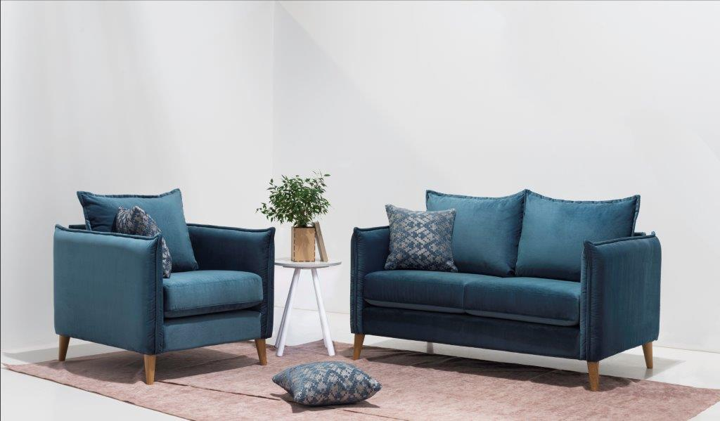 LEO 1 seater + 2 seater (NAPOLY 16 blue) interior softnord soft nord scandinavian style furniture modern interior design sofa bed chair pouf upholstery