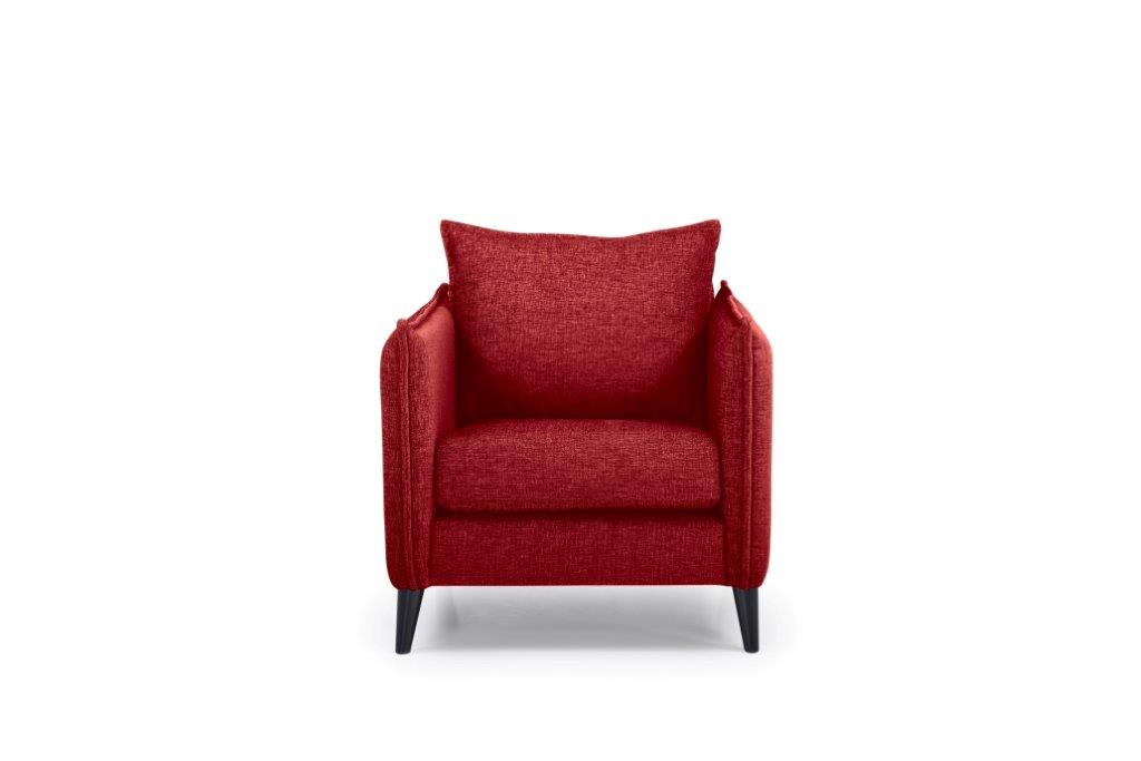 LEO 1 seater (DOKKER 1 red) front softnord soft nord scandinavian style furniture modern interior design sofa bed chair pouf upholstery