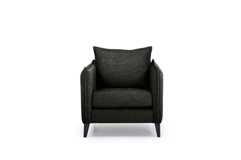 LEO 1 seater (DOKKER 6 black) front softnord soft nord scandinavian style furniture modern interior design sofa bed chair pouf upholstery