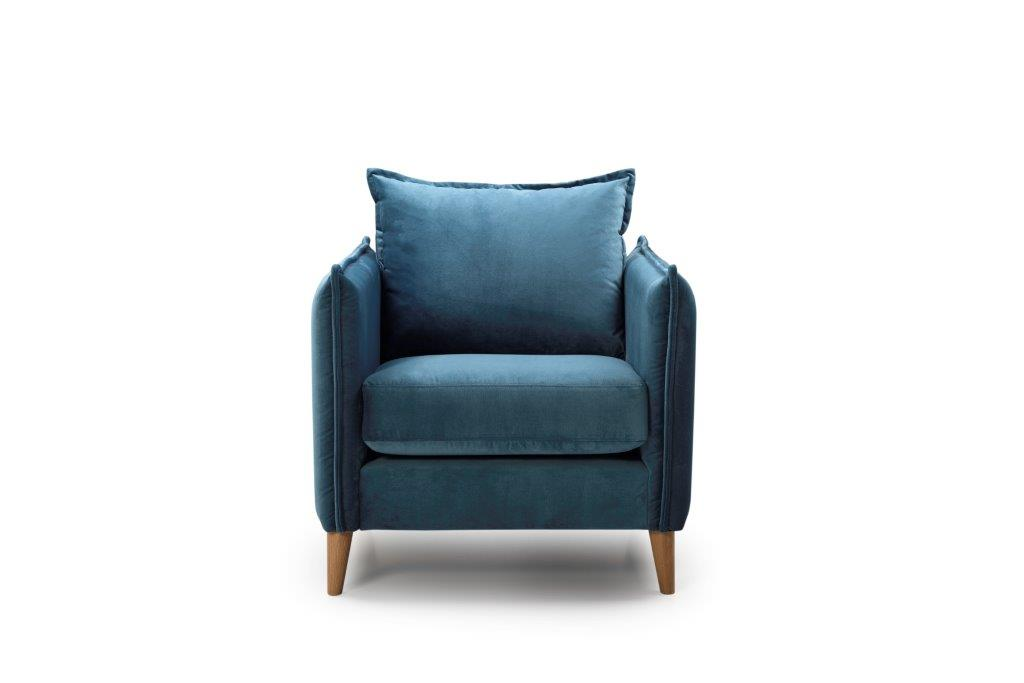 LEO 1 seater (NAPOLY 16 blue) front softnord soft nord scandinavian style furniture modern interior design sofa bed chair pouf upholstery
