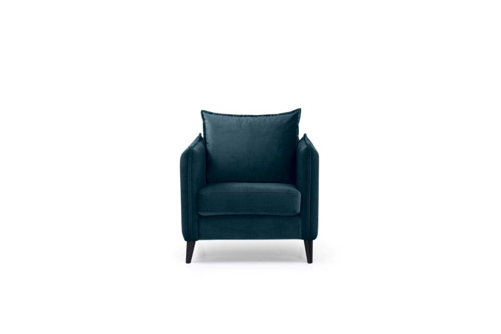 LEO 1 seater (TRENTO 16 blue) front softnord soft nord scandinavian style furniture modern interior design sofa bed chair pouf upholstery