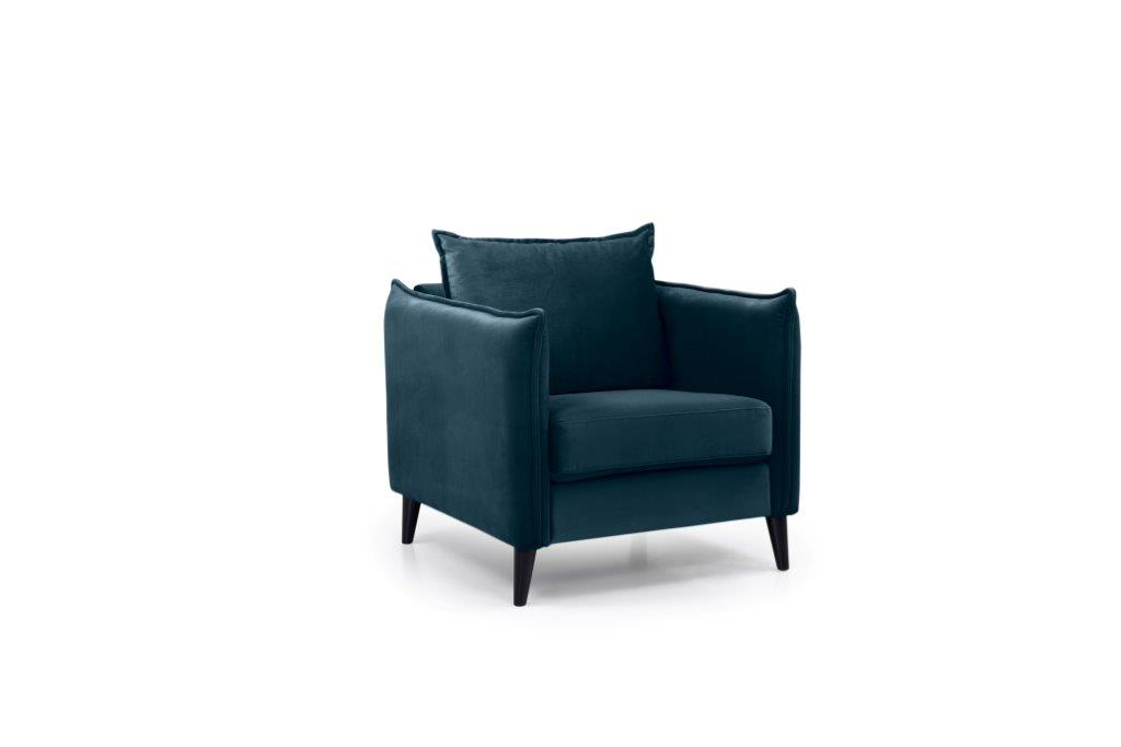 LEO 1 seater (TRENTO 16 blue) side softnord soft nord scandinavian style furniture modern interior design sofa bed chair pouf upholstery