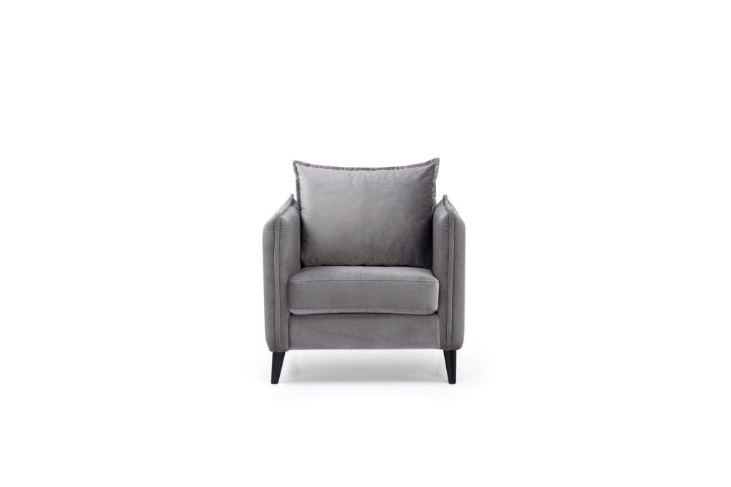 LEO 1 seater (TRENTO 3 grey) front softnord soft nord scandinavian style furniture modern interior design sofa bed chair pouf upholstery