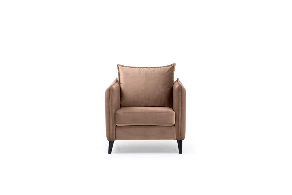 LEO 1 seater (TRENTO 9 cappuccino) front softnord soft nord scandinavian style furniture modern interior design sofa bed chair pouf upholstery