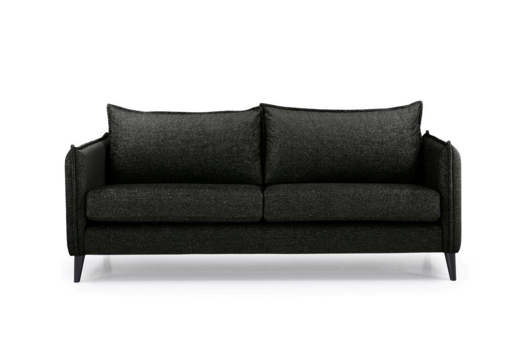 LEO 3 seater (DOKKER 6 black) front softnord soft nord scandinavian style furniture modern interior design sofa bed chair pouf upholstery