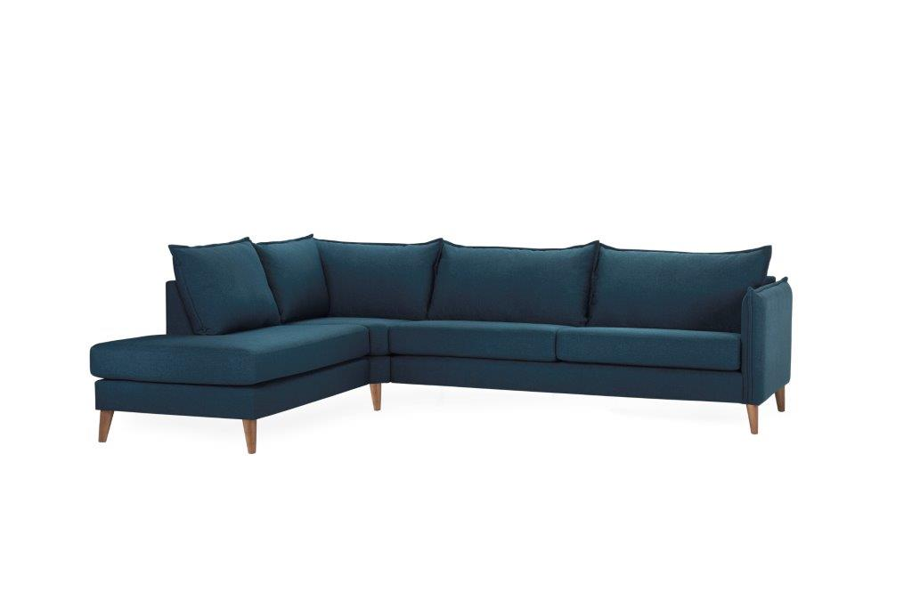 LEO open corner with 3 seater (FAME 16.2 dark blue) side softnord soft nord scandinavian style furniture modern interior design sofa bed chair pouf upholstery
