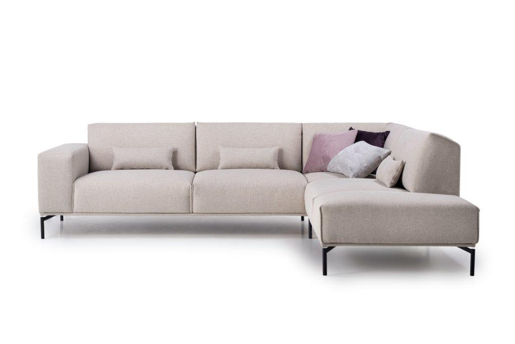 LISBON open corner (BERING 8 beige) front, arm B, with deco cushions softnord soft nord scandinavian style furniture modern interior design sofa bed chair pouf upholstery