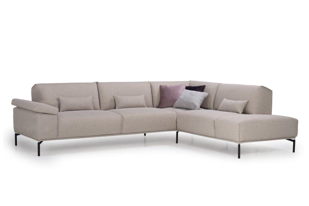 LISBON open corner (BERING 8 beige) side, arm A, with deco cushions softnord soft nord scandinavian style furniture modern interior design sofa bed chair pouf upholstery