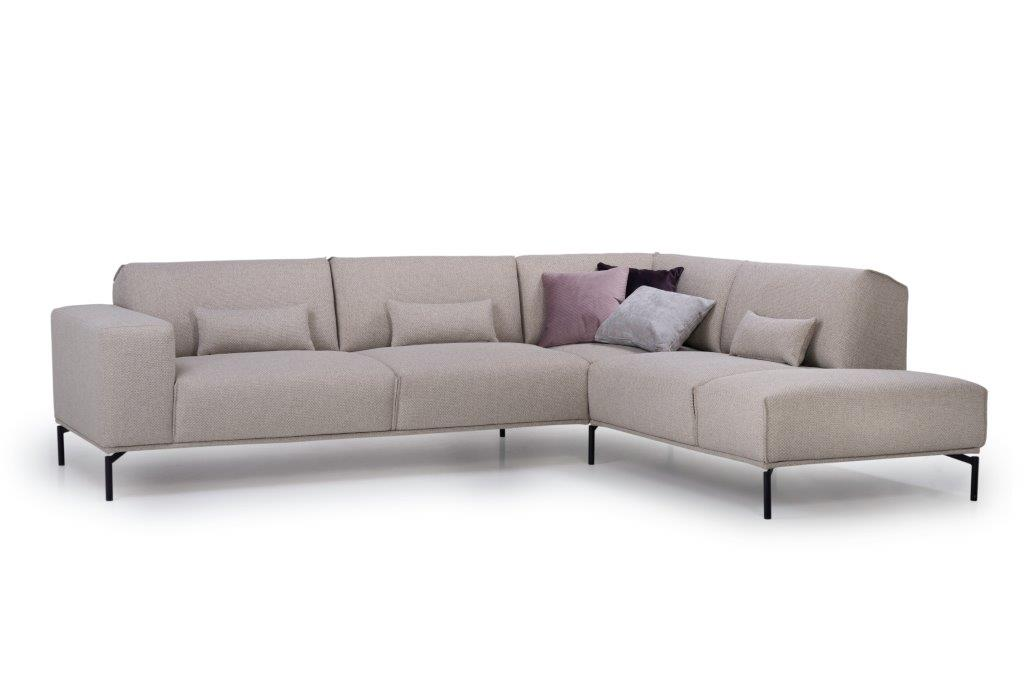 LISBON open corner (BERING 8 beige) side, arm B, with deco cushions softnord soft nord scandinavian style furniture modern interior design sofa bed chair pouf upholstery