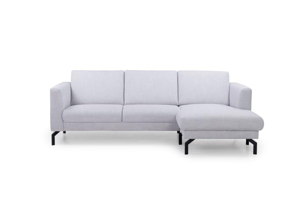 MARIO chaiselongue with 2,5 seater (BERGAMO 22 silver) front softnord soft nord scandinavian style furniture modern interior design sofa bed chair pouf upholstery