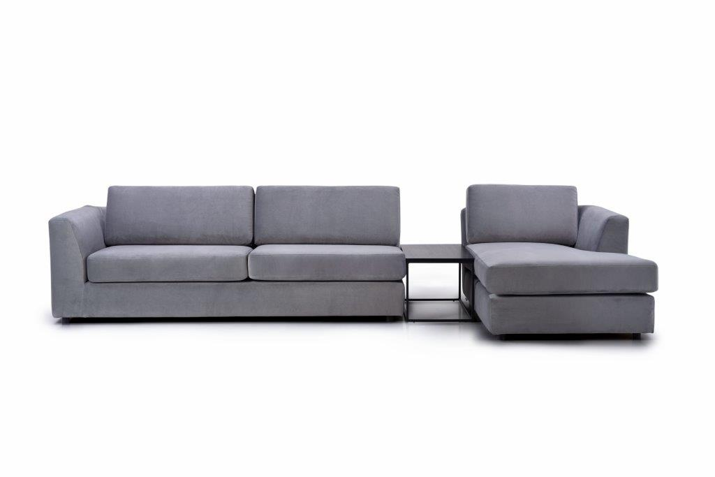 ORLANDO 3+table+chaiselongue (TRENTO 3 grey) front softnord soft nord scandinavian style furniture modern interior design sofa bed chair pouf upholstery