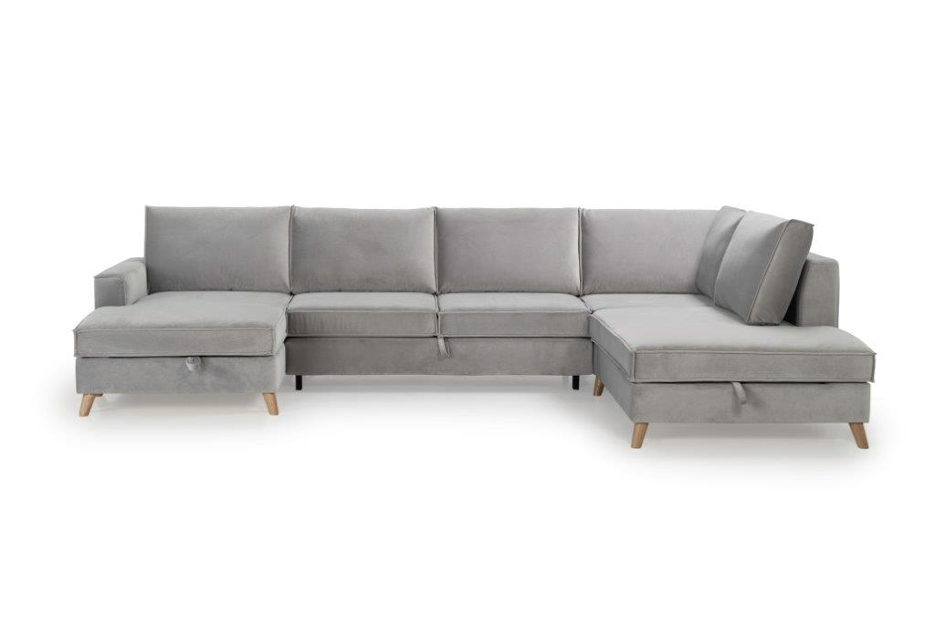 COPENHAGEN SLEEPING U-Shape with 2 seater (TRENTO 3.1 light grey) frontsoftnord soft nord scandinavian style furniture modern interior design sofa bed chair pouf up