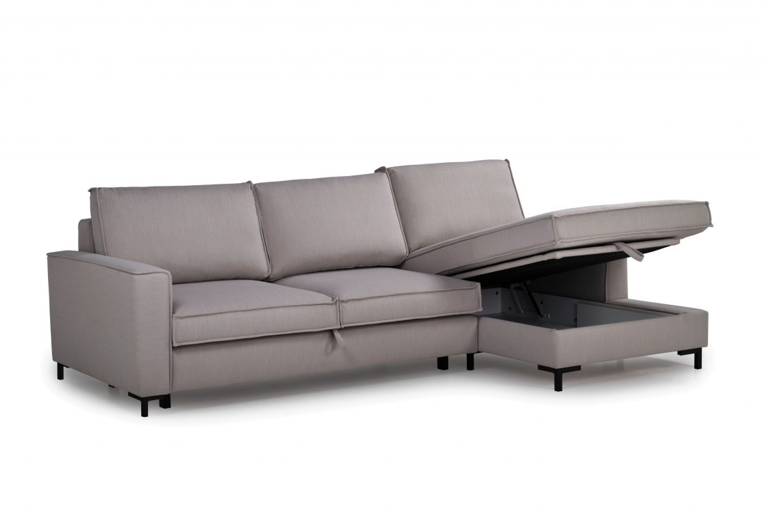 COPENHAGEN SLEEPING chaiselongue with 2 seater (BULOVA 22 silver) r side open