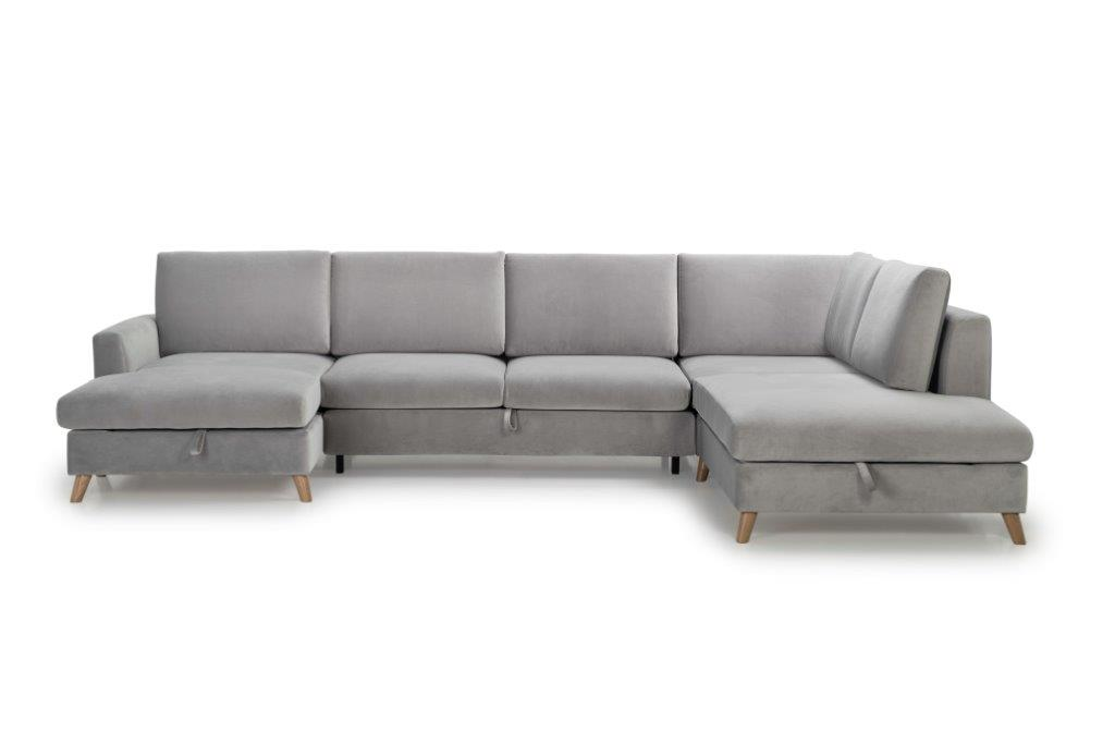 MARIO SLEEPING U-Shape with 2 seater (TRENTO 3.1 light grey) front softnord soft nord scandinavian style furniture modern interior design sofa bed chair pouf upholstery
