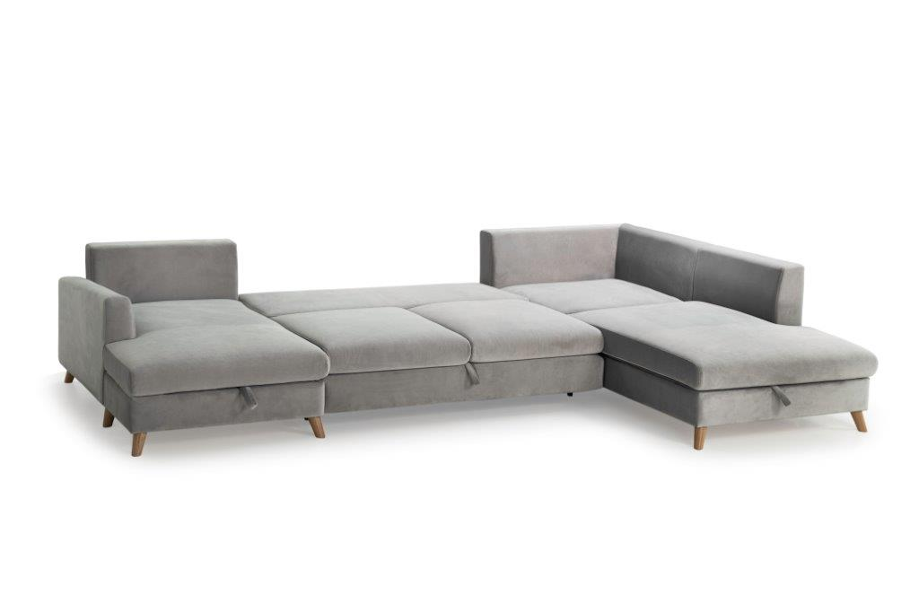 MARIO SLEEPING U-Shape with 2 seater (TRENTO 3.1 light grey) open softnord soft nord scandinavian style furniture modern interior design sofa bed chair pouf upholstery