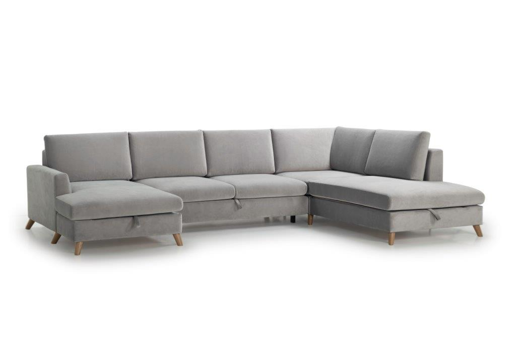 MARIO SLEEPING U-Shape with 2 seater (TRENTO 3.1 light grey) side softnord soft nord scandinavian style furniture modern interior design sofa bed chair pouf upholstery