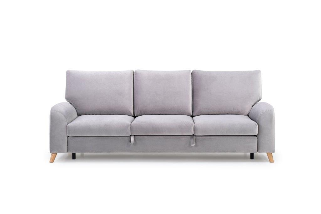 MERLIN SLEEPING 3 seater (TRENTO 3.1 light grey) front softnord soft nord scandinavian style furniture modern interior design sofa bed chair pouf upholstery